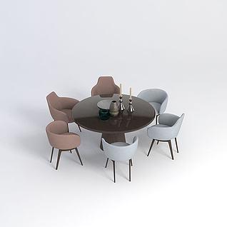 圆餐桌椅组合3d模型