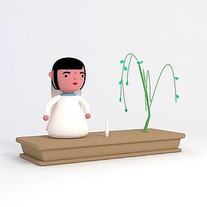 觀音許愿盆栽擺件3d模型