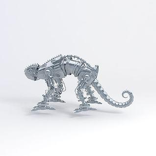 金属机甲蜥蜴3d模型
