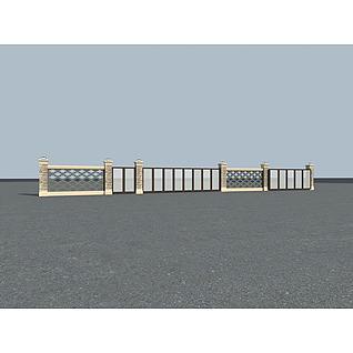 小区围墙3d模型