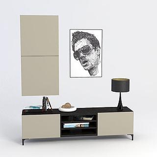 创意厅柜背景墙3d模型