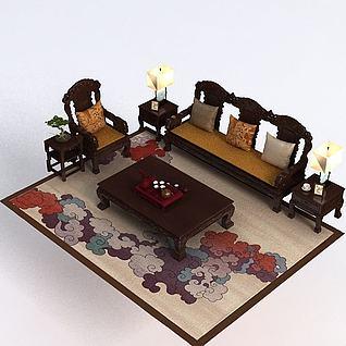 中式客厅家具3d模型