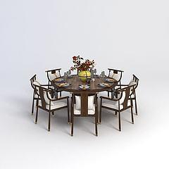 中式圆餐桌椅组合模型3d模型