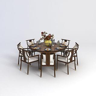中式圆餐桌椅组合3d模型