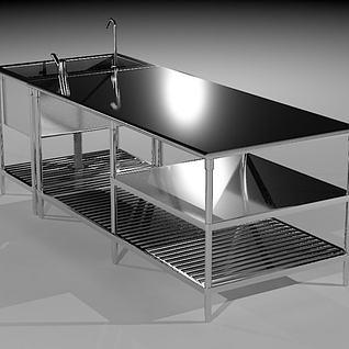 厨房不锈钢工作台3d模型