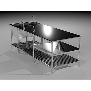 厨房不锈钢工作台3d模型3d模型