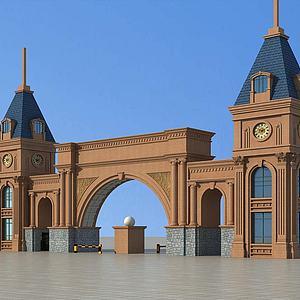欧式小区大门模型