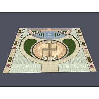 广场中轴景观3d模型