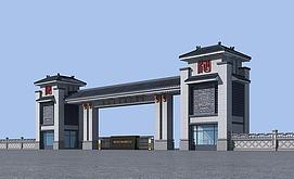 中式小区大门3d模型
