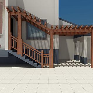 别墅入户廊架3d模型