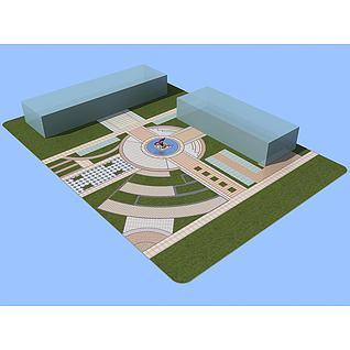 中心轴景观广场3d模型