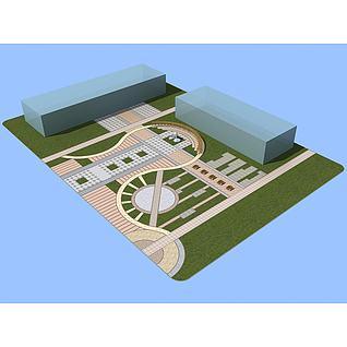 主轴景观广场3d模型