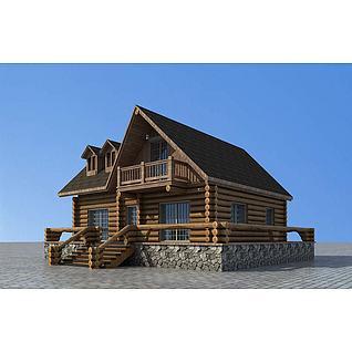 景区度假小木屋3d模型