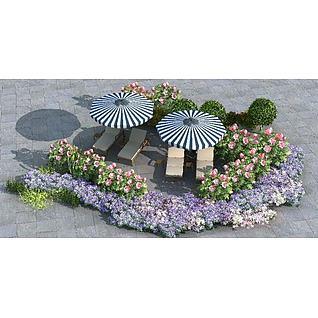 户外植物组3d模型