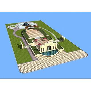 中心景观广场3d模型