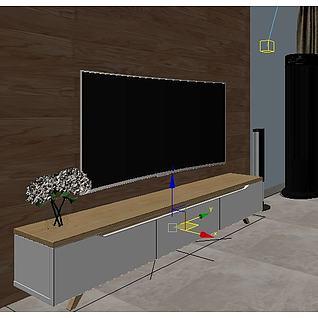 曲面电视机3d模型