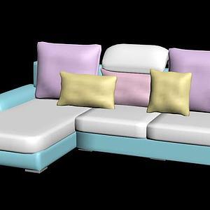 七字型布艺简约沙发3d模型