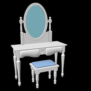 地中海梳妆台包凳子一套3d模型