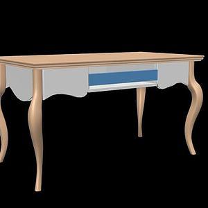 简欧书桌电脑桌3d模型