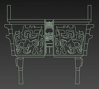 青铜鼎装饰立体画3d模型