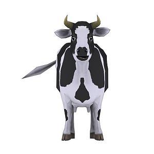 卡通奶牛带动画模型