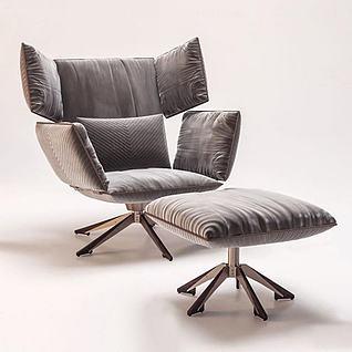 现代布艺休闲椅脚踏3d模型