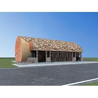 树干公共厕所3d模型