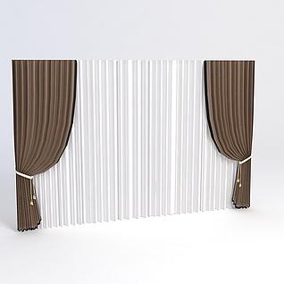欧式简约窗帘3d模型