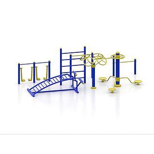 广场健身器材3d模型