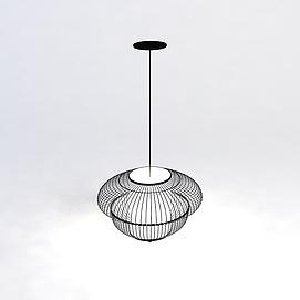 黑色铁艺吊灯3D模型