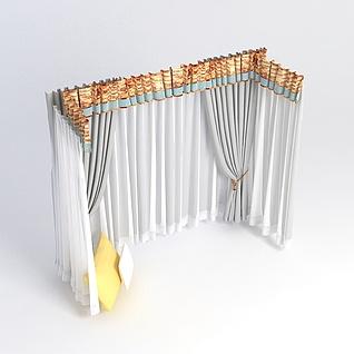 飘窗窗帘组合3d模型