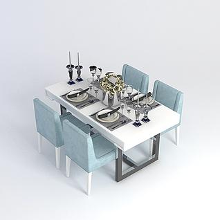 简约餐桌3d模型