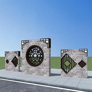 3d中式景墻模型
