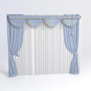 欧式窗帘带帷幔模型