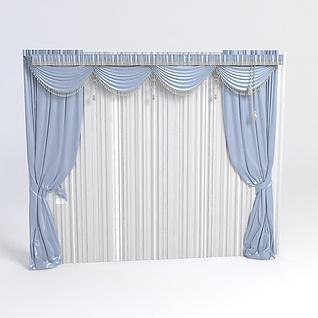 欧式窗帘带帷幔3d模型