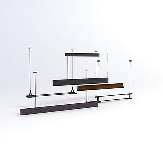 简约长条吊灯组合3d模型