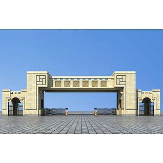 大门入口3d模型