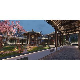 中式庭院园林景观3d模型