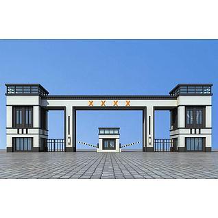 现代大门入口3d模型