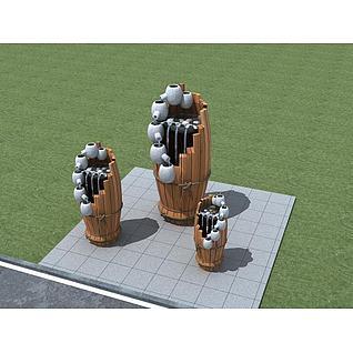 叠水小品3d模型