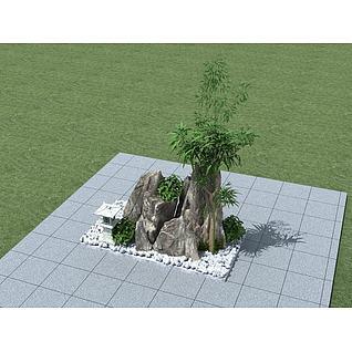 假山组合小品3d模型