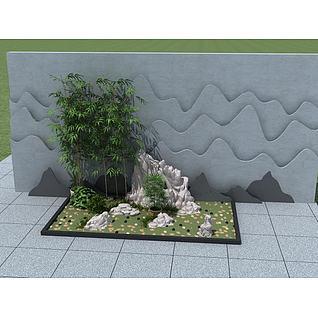 假山竹子组合小品3d模型