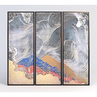 新中式抽象彩色装饰画组合3d模型
