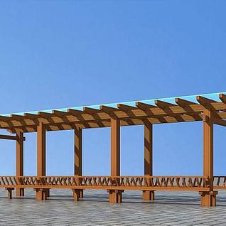 花架木廊3d模型