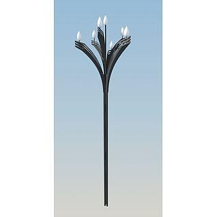 莲花型路灯3d模型