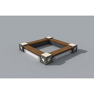 精致中式坐凳树池3d模型