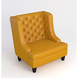 美式客厅沙发3d模型