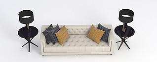 美式客厅沙发模型3d模型