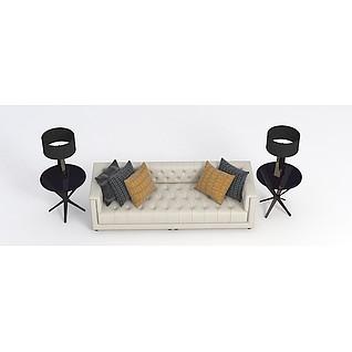 美式客厅沙发3d模型3d模型