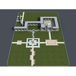 园区景观3d模型